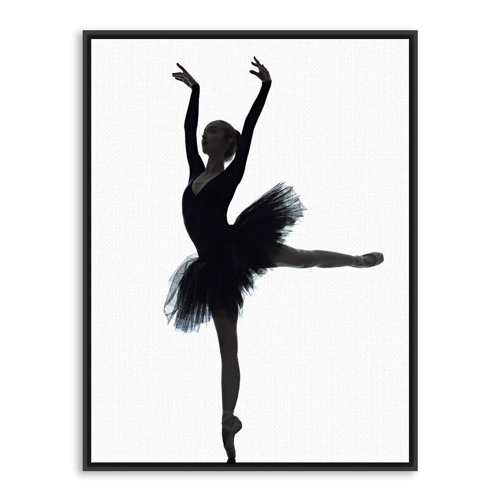 1000x1000 Black White Ballet Dancer Silhouette Beauty Girl Photo Art Print
