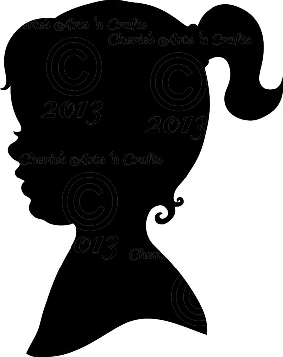 570x718 Instant Download, Little Girl Silhouette, Png Graphics, Digital