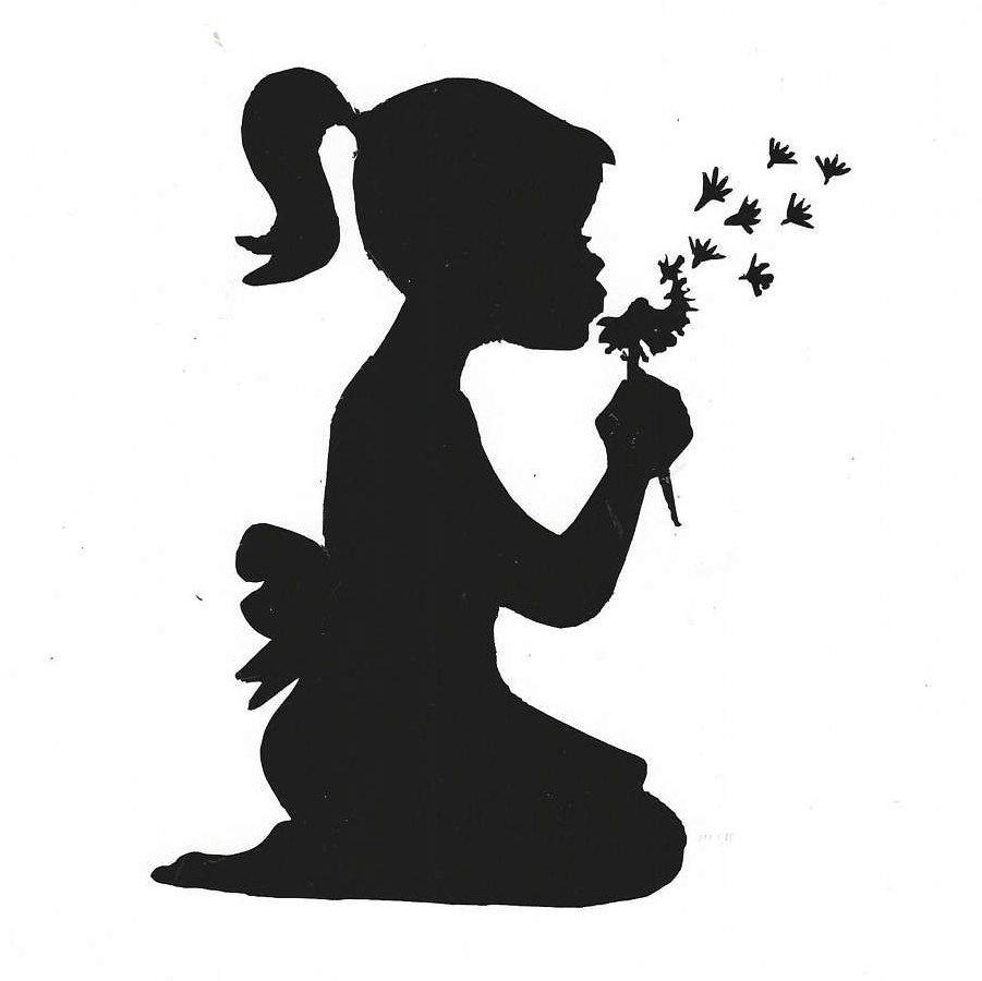 901x900 Vinyl Decal Of Girl Blowing On Dandelion 5 X 6