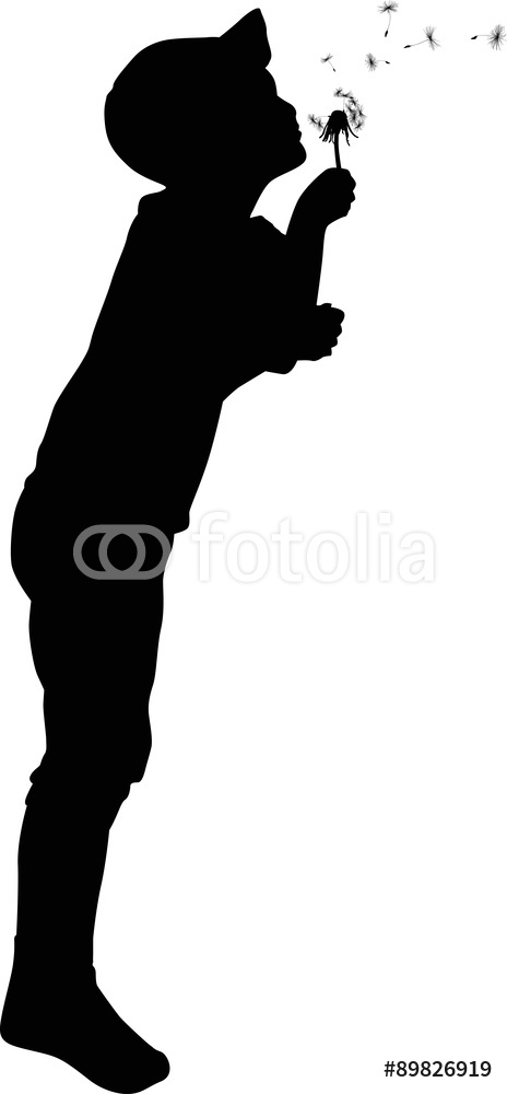 464x1000 Child Blowing On Dandelion Black Silhouette Wall Sticker Wall