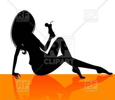 400x346 Silhouette Of A Seated Girl With A Cocktail In Hand Royalty Free