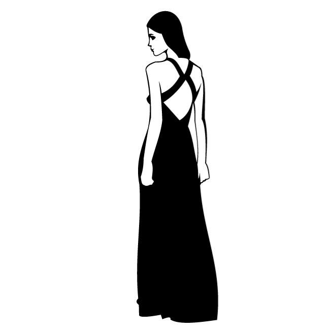 660x660 Woman In Black Dress Vector Clip Art