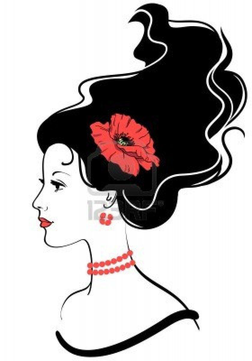 840x1200 Beauty Girl Face Silhouette With Red Poppy In Hairstyle Stock