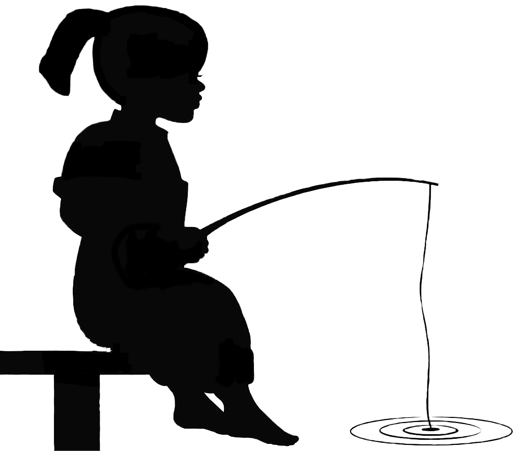 Girl Fishing Silhouette