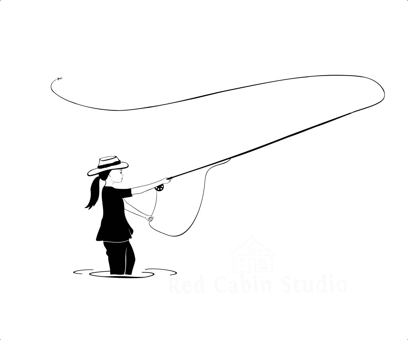 1299x1082 Fly Fishing Girl Svg Cutting File Fishing Svg Fly