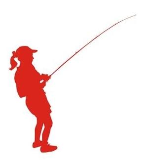 306x330 Girl Fishing Silhouette Decal Sticker