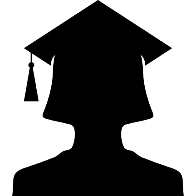 626x626 Female University Graduate Silhouette With Cap Icons Free Download