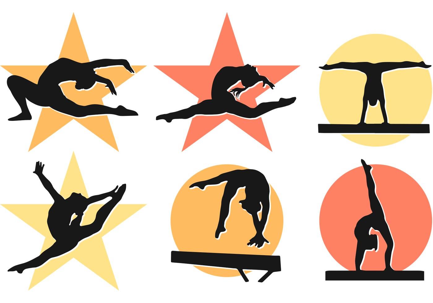 1400x980 Free Vector Women Girl Gymnastics Silhouettes Vectors