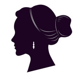 160x160 Vector Set Of Woman Silhouette With Different Hair Styles. Stock