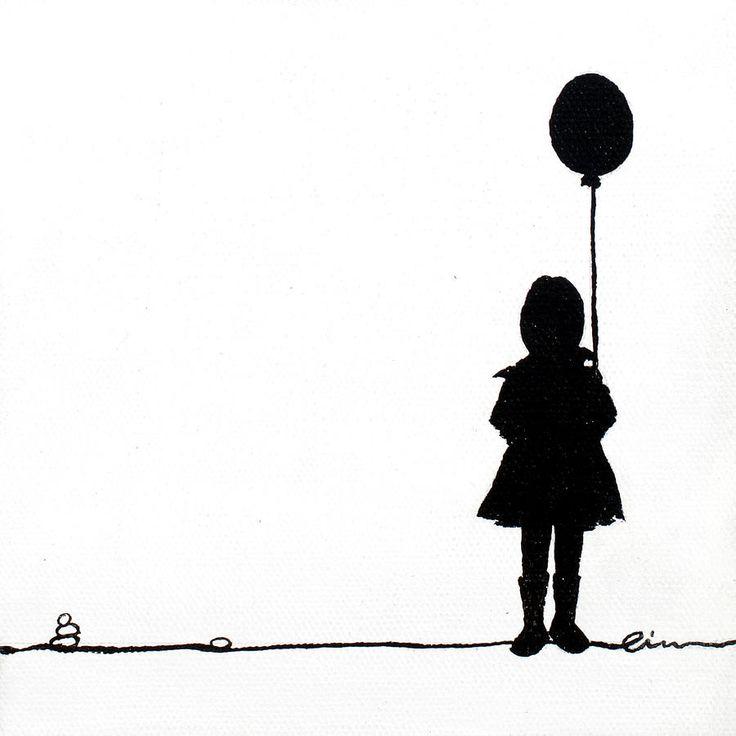 Girl Holding Balloon Silhouette