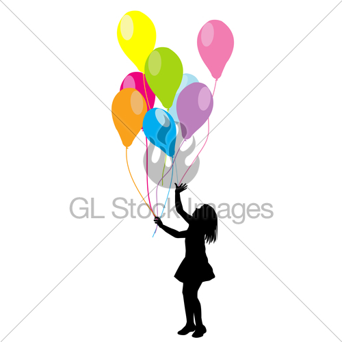 500x500 Girl Silhouette With Balloons Gl Stock Images