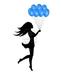 236x285 Girl Silhouette With Colorful Balloons On White Background Bar