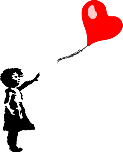 404x500 Little Girl And Heart Shaped Balloon Public Domain Vectors