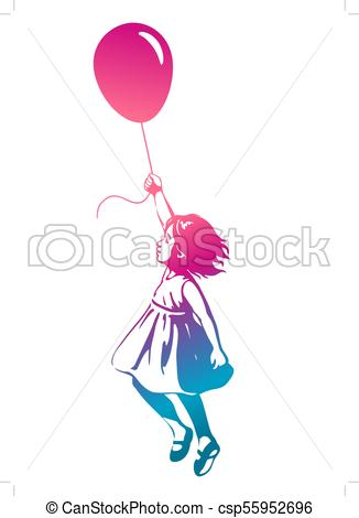 326x470 Silhouette Of A Young Girl Holding Balloons Illustrations