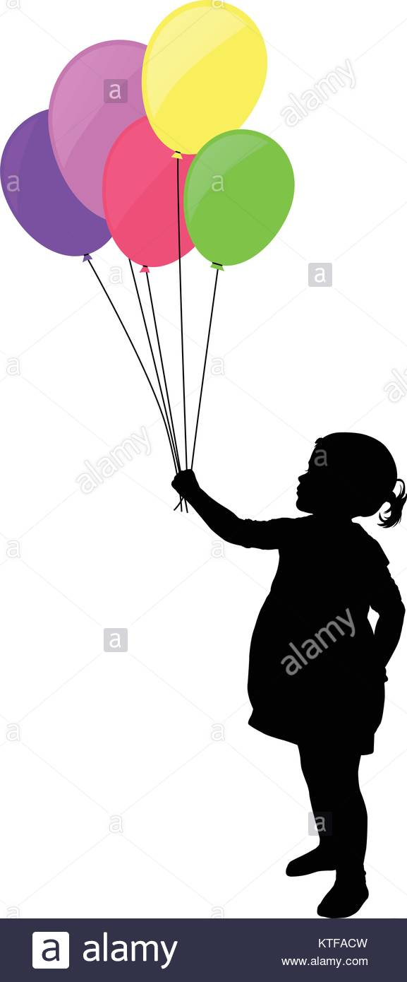 577x1390 Little Girl Holding Colorful Balloons Silhouette