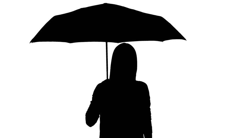 852x480 Girl Holding Umbrella Drawing Black