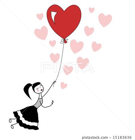 450x468 Girl Holding The String Of Flying Heart Balloon.