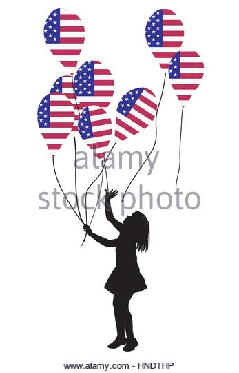 347x540 Little Girl Holding Balloons Vector Cut Out Stock Images