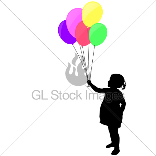 500x500 Little Girl Holding Colorful Balloons Silhouette Gl Stock Images