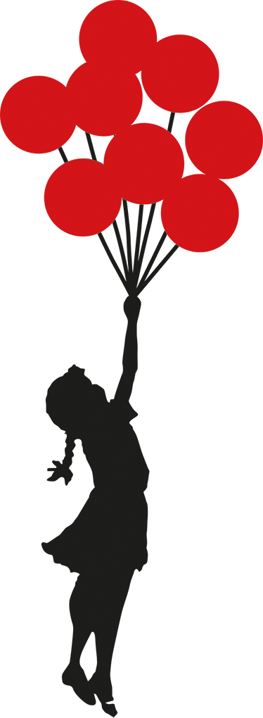 374x1020 Banksy Girl With Balloons Wall Sticker