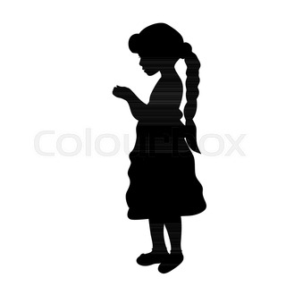 320x320 Silhouette Girl Holiday Holding A Gift. Vector Illustration