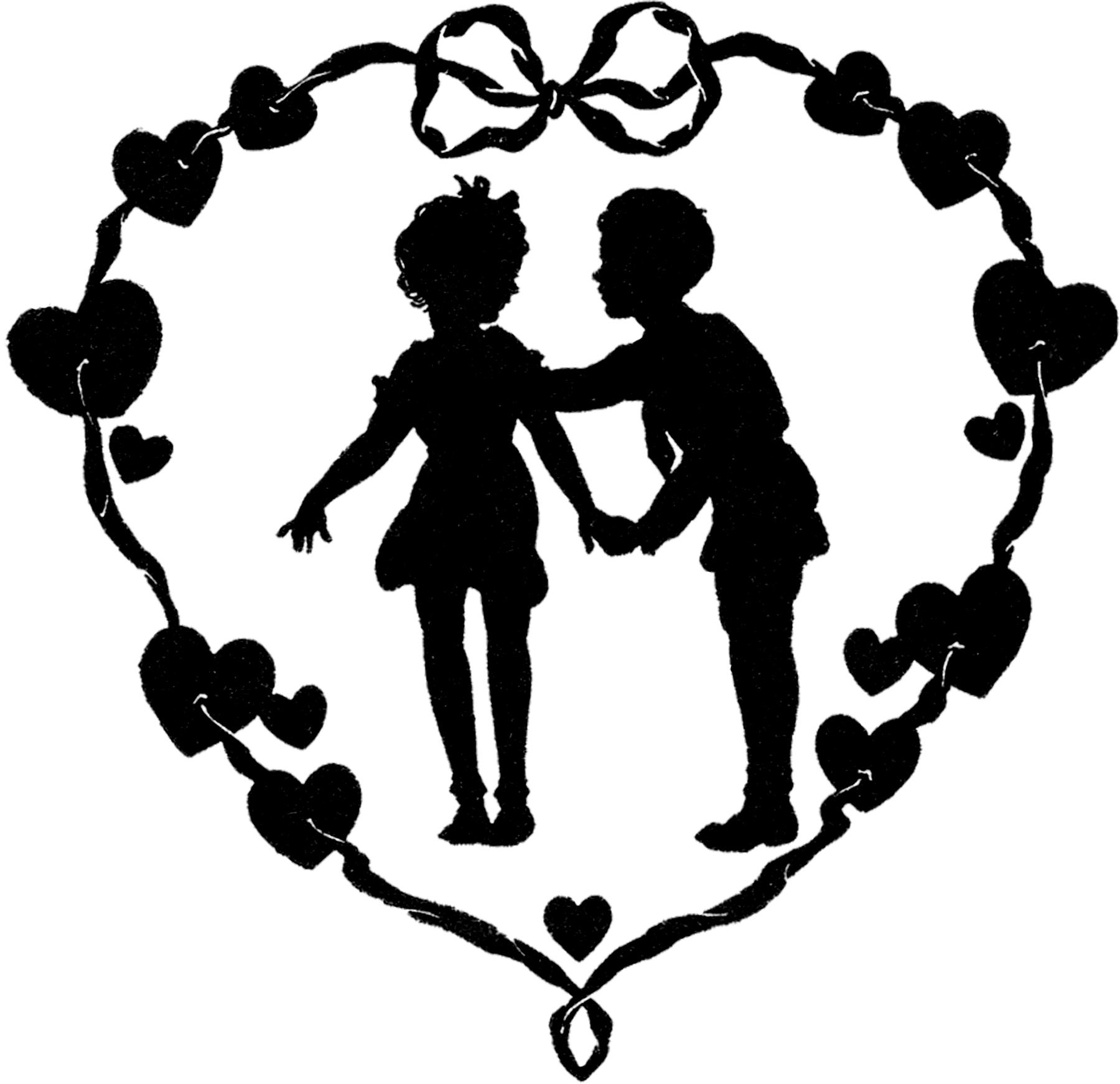 1800x1742 Vintage Valentine Silhouette