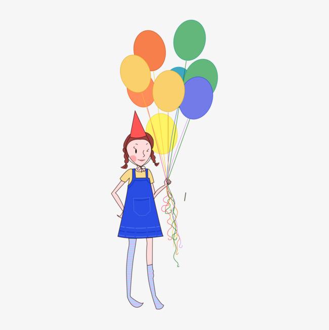 650x651 Girl Holding Balloons, Took, Balloon, Balloon Girl Png Image