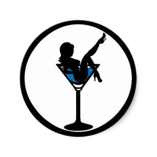 307x307 Girl In A Martini Glass Stickers Zazzle