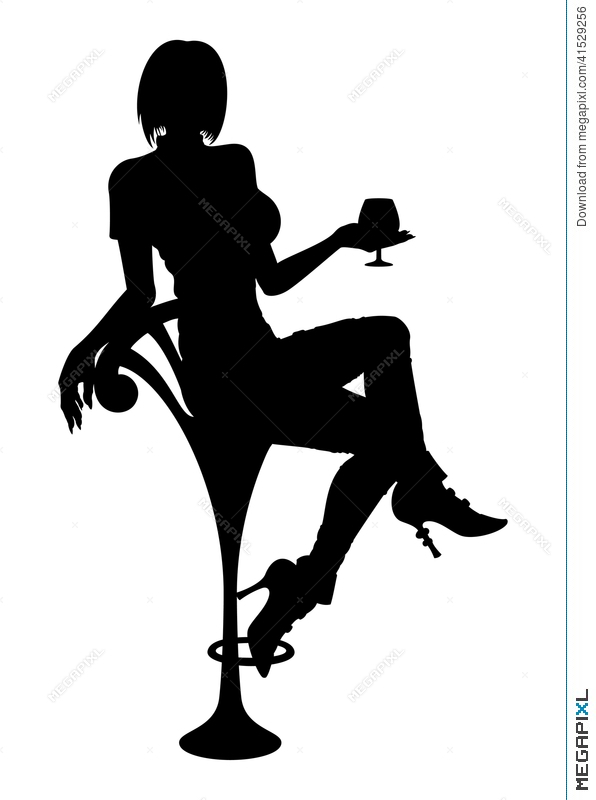596x800 Silhouette Girl Sitting On A Bar Chair Illustration 41529256