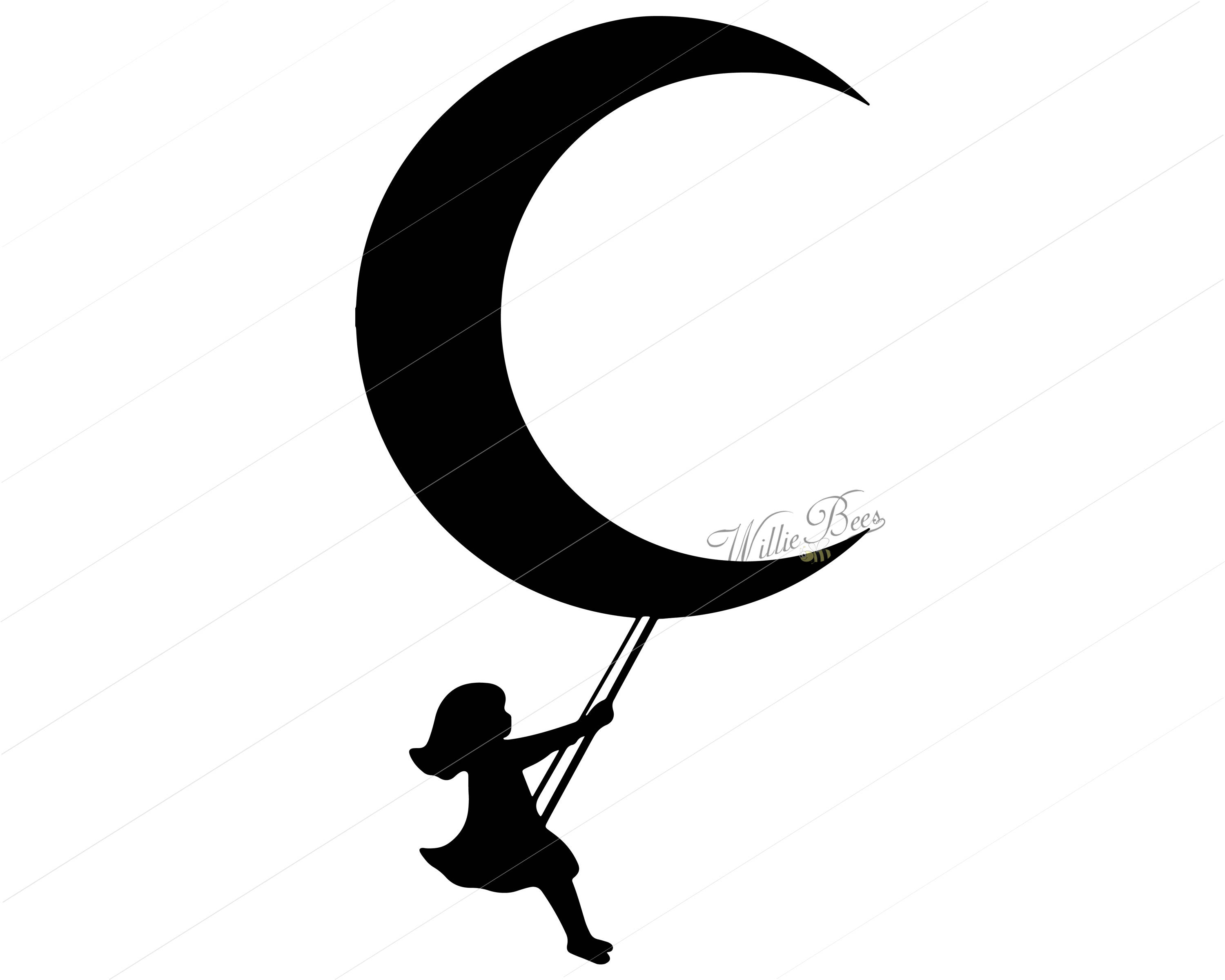 3000x2400 Girl Svg Moon Svg Girl Swinging From The Moon Girl On Moon