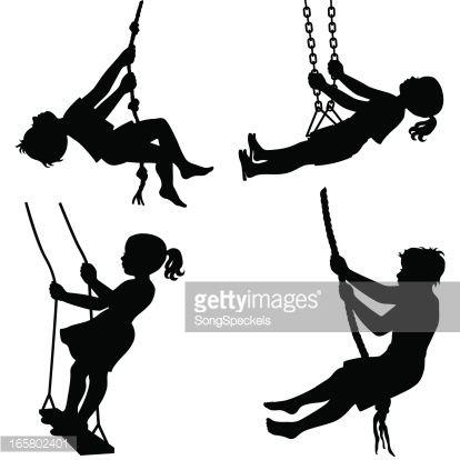 414x414 Image Result For Silhouette Of Children Swinging Art