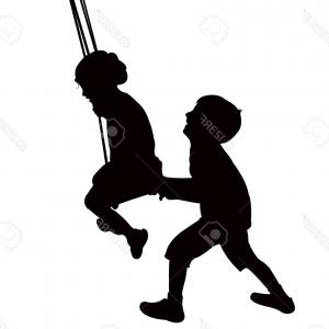 300x300 Photoa Vector Illustration Of A Cute Girl On A Swing Outside