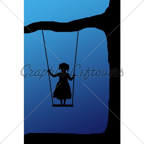 500x500 Swing Girl On Blue Gl Stock Images