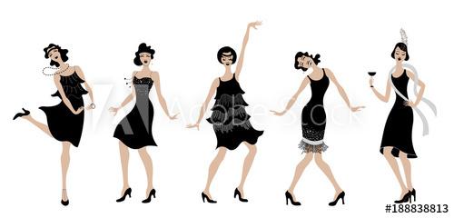 500x240 Charleston Party.black Dress Dancing Girls Silhouette Gatsby