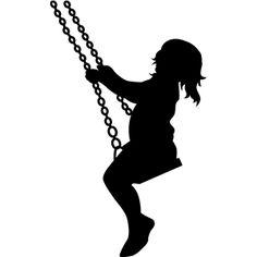 236x236 Clip Art Illustration A Little Girl On A Swing In Silhouette