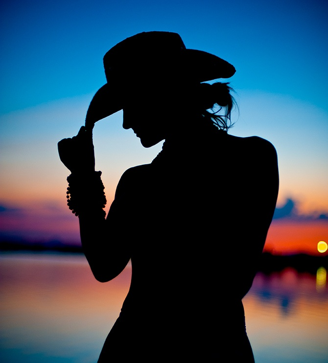 Girl On Beach Silhouette