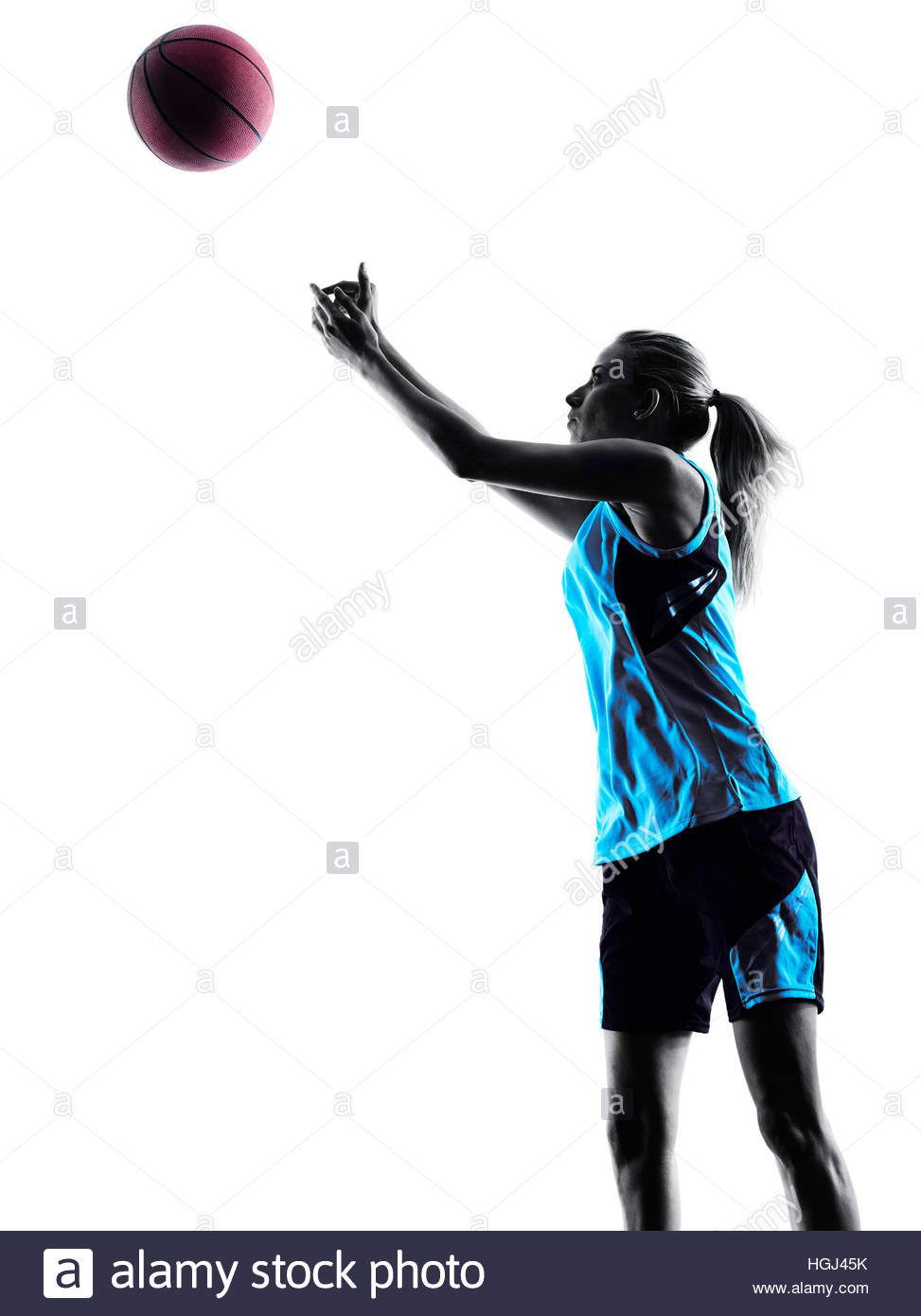 973x1390 One Caucasian Woman Basketball Player Dribbling In Silhouette