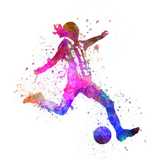 550x550 Girl Playing Soccer Football Player Silhouette Comforters By