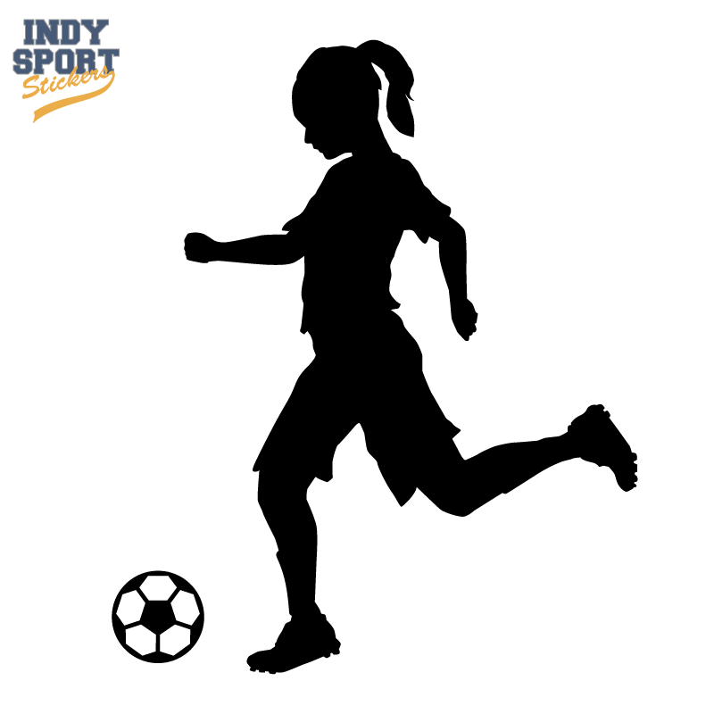800x800 Soccer Player Girl Silhouette Kicking Ball Decal Or Sticker