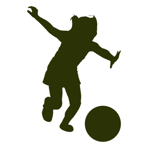 512x512 Girl Playing Football Silhouette