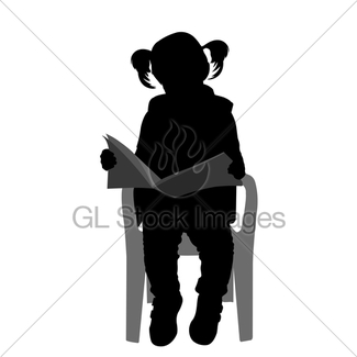 325x325 Silhouette Of A Girl Reading A Book Gl Stock Images