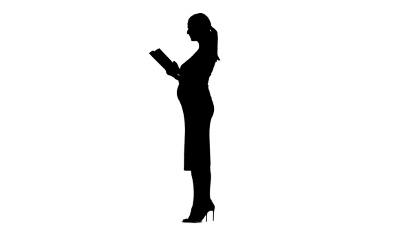 590x332 Pregnant Woman Is Reading A Book. Silhouette. White Background. By