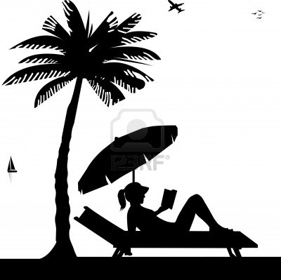 400x399 Silhouette Of Girl Sunbathing And Reading A Book On The Beach
