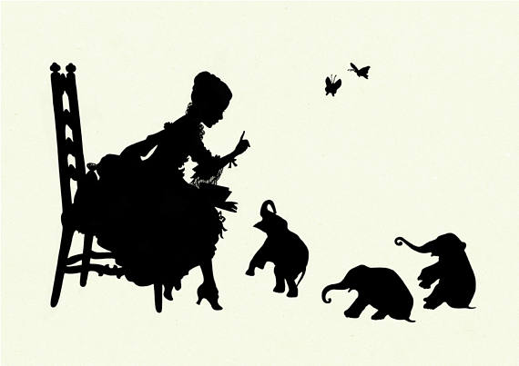 570x403 Silhouette Girl Reading To Elephant Babies Art Print Small