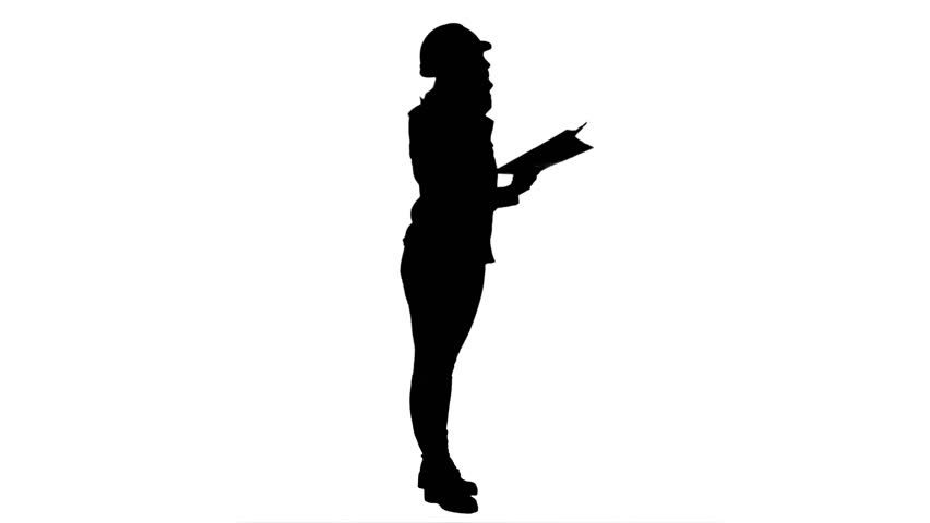 852x480 Silhouette Young Engineer Woman Reading Technical Drawings