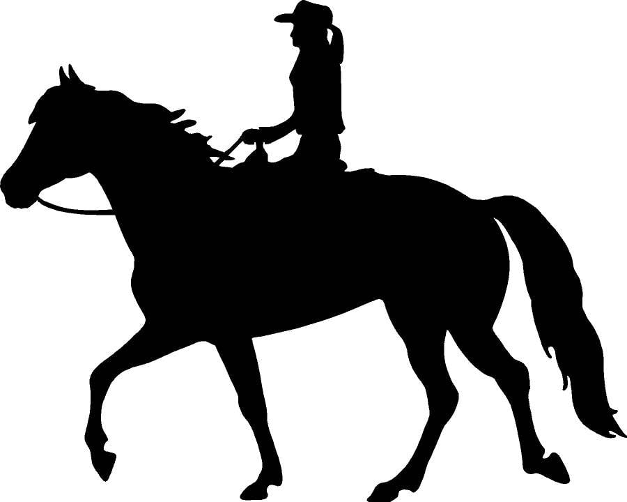 900x720 Girl Riding Horse Decal With Pony Tail And Cowboy Hat