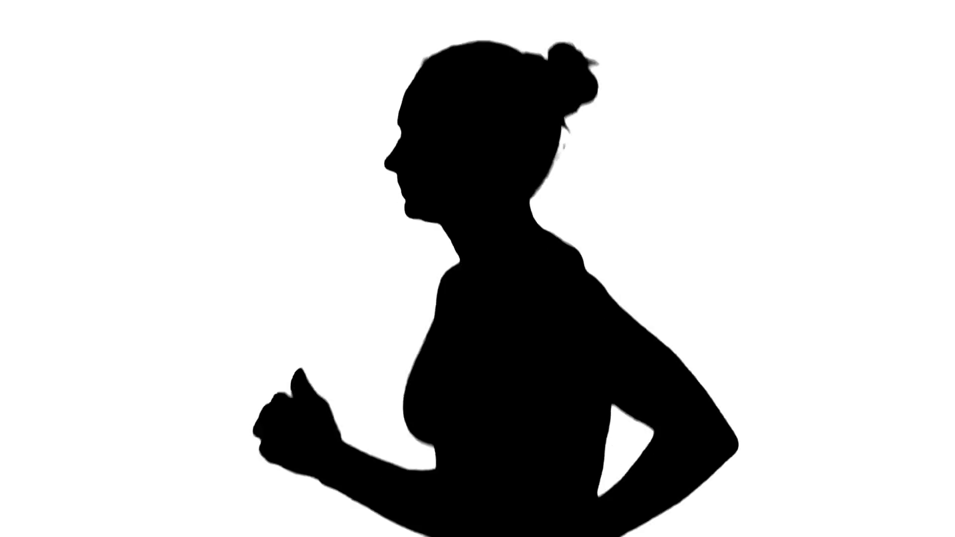 1920x1080 Girl With Athletic Body Running. Side View. Silhouette. White