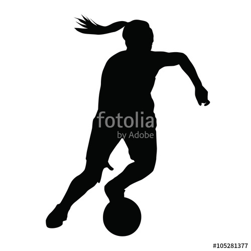 500x500 Basketball Player Vector Silhouette, Woman, Girl, Running With B