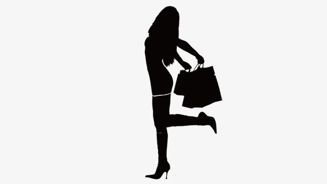 650x367 Shopping Girl Silhouette, Cartoon Beauty, Vector Beauty Png