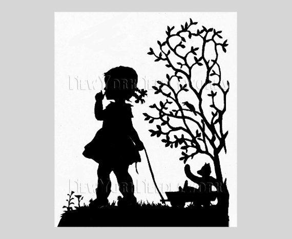 570x467 Child Silhouette, Girl Silhouette Pattern, Cross Stitch Pattern